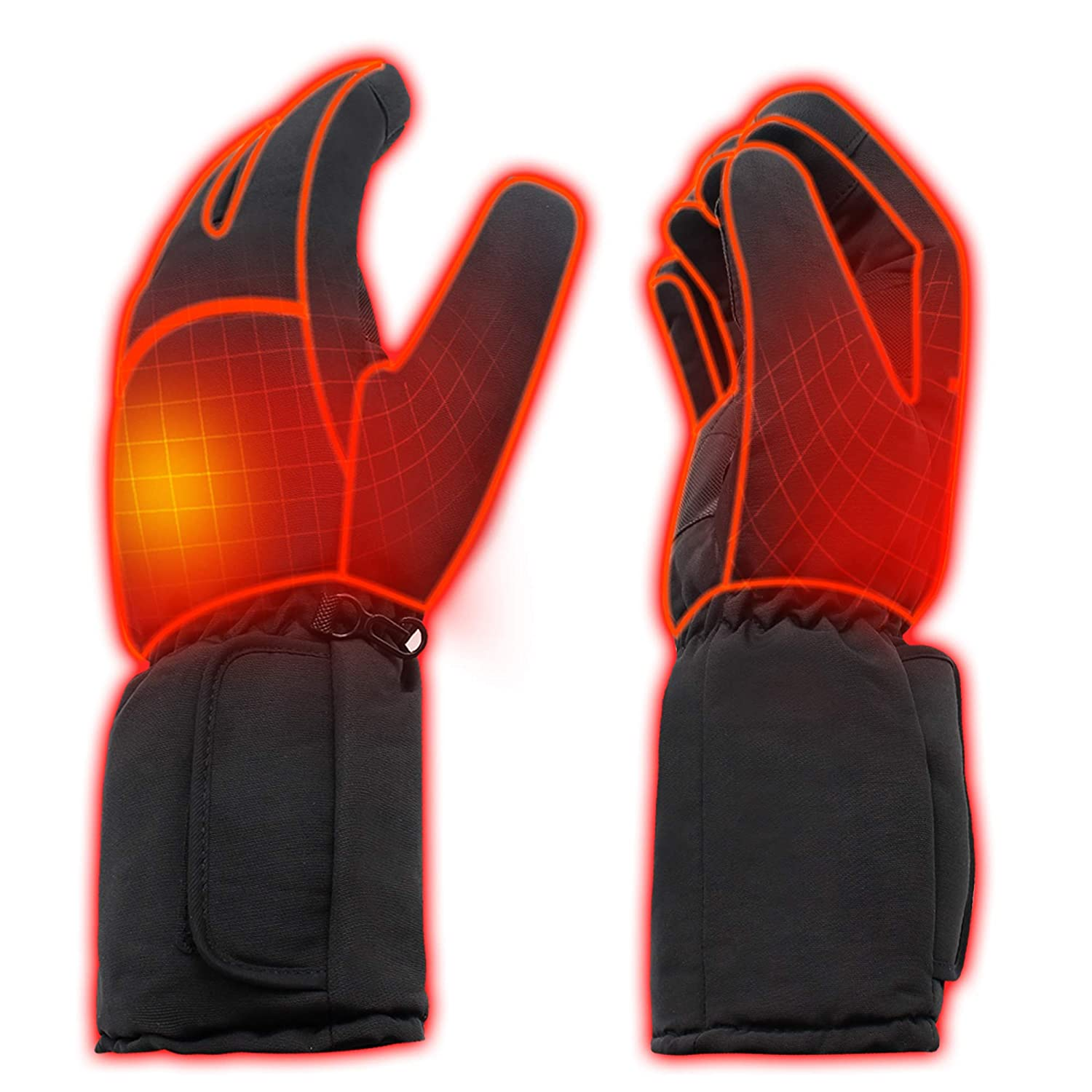 Rabbitroom Mens Winter Electric Heated Gloves AA Battery Power Heating Gloves Warm Thermal Gloves Hiking Skiing Hunting Hand Warmer Heated Arthritis gloves Size large