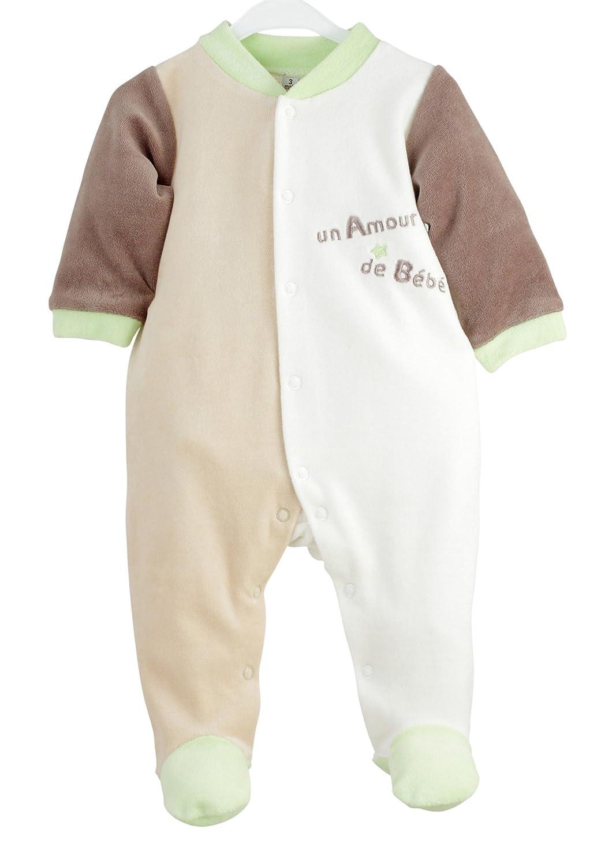 Kinousses Dors Bien Grenouillère Pyjama pour Bébé en Velours Motif Un Amour de Bébé Chocolat 1 Mois 910 2052