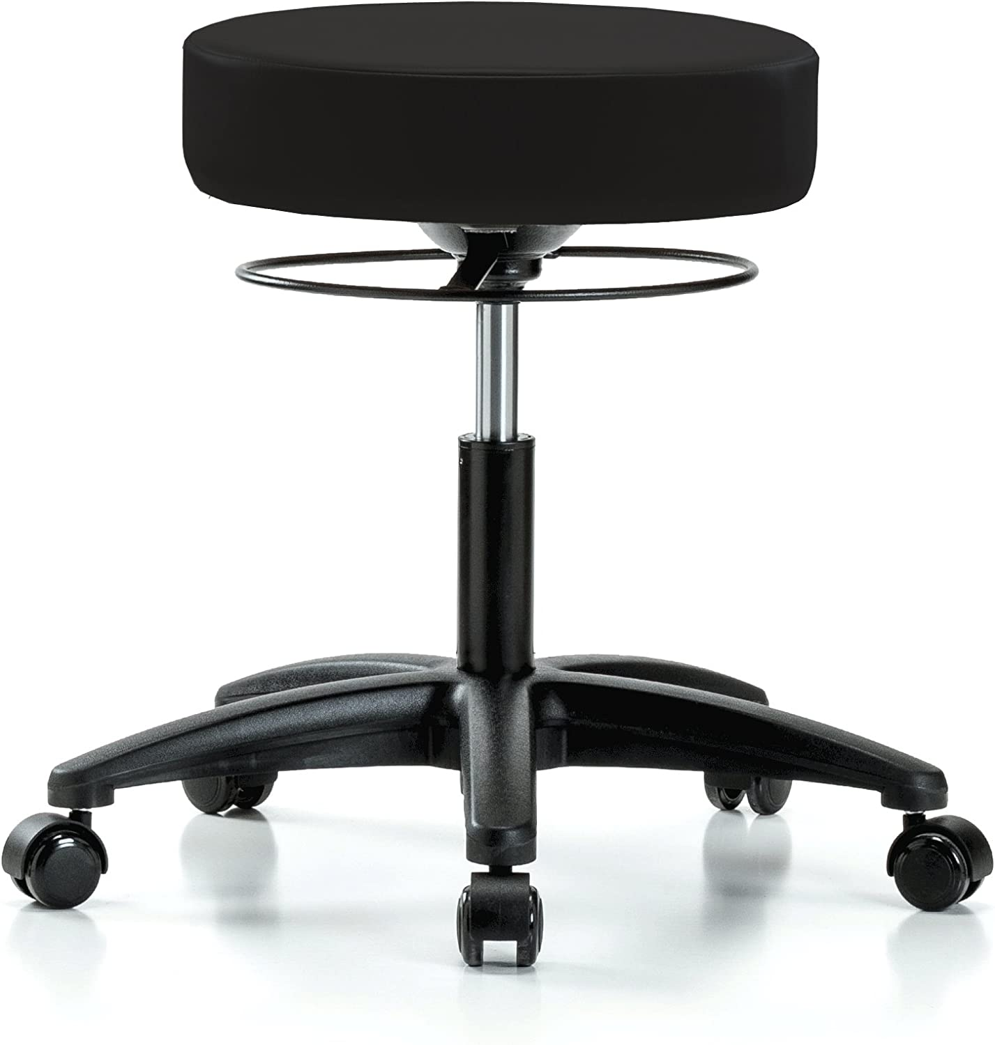 PERCH Stella Rolling Height Adjustable Salon Spa Stool for Hardwood or Tile Desk Height 18.5-24 Inches 300-Pound Weight Capacity 12 Year Warranty Black Vinyl