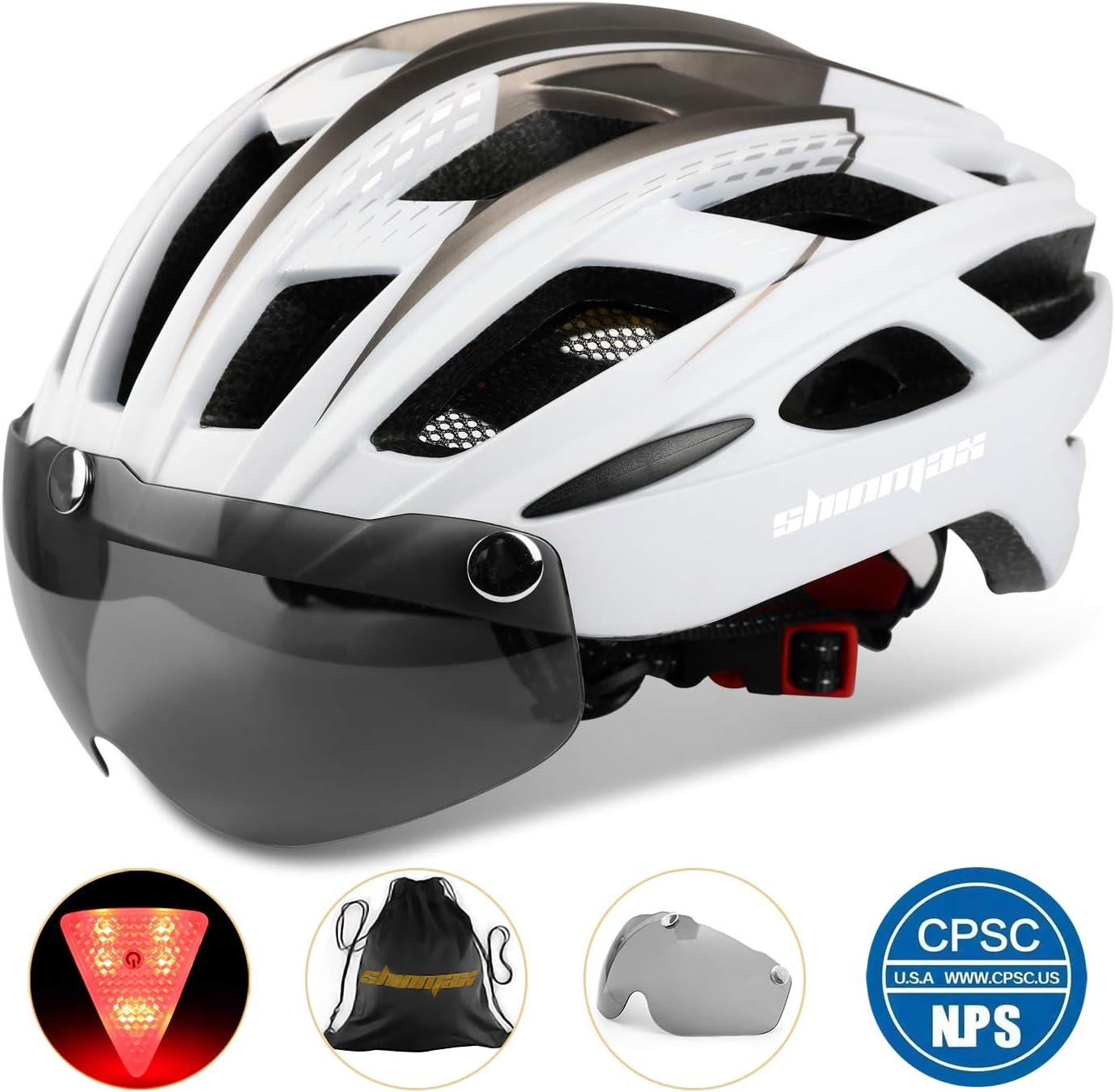 Shinmax Casco Bicicleta con luz, Certificación CE,con Visera Magnética Seguridad Ajustable Desmontable Deporte Gafas de Protección Ligera para Montar Ski & Snowboard Unisex Cascos Bici Adultos NR-