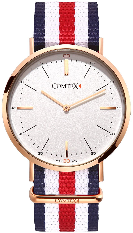 Comtex Herren Quarz-Armbanduhr Rose Gold Tone Fall Weiß Zifferblatt mit Textilband