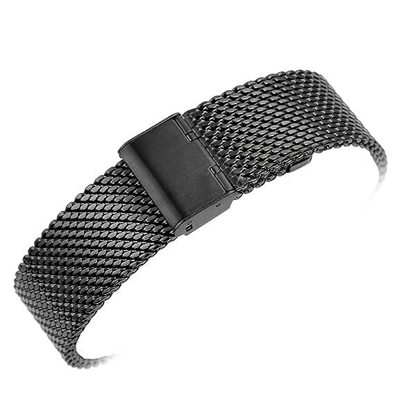 YISUYA 20 mm gdfb macizo de malla correa de acero inoxidable cierre magnético con gancho negro clásico correa de muñeca de correas 2,0 cm