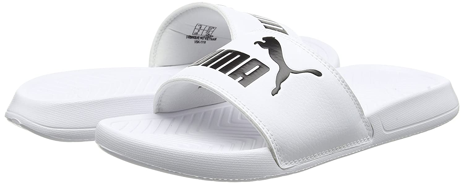 3194152b437 ... Amazon.com PUMA Trainers Popcat Sliders - White Black Sport Sandals  Slides new high quality . ...