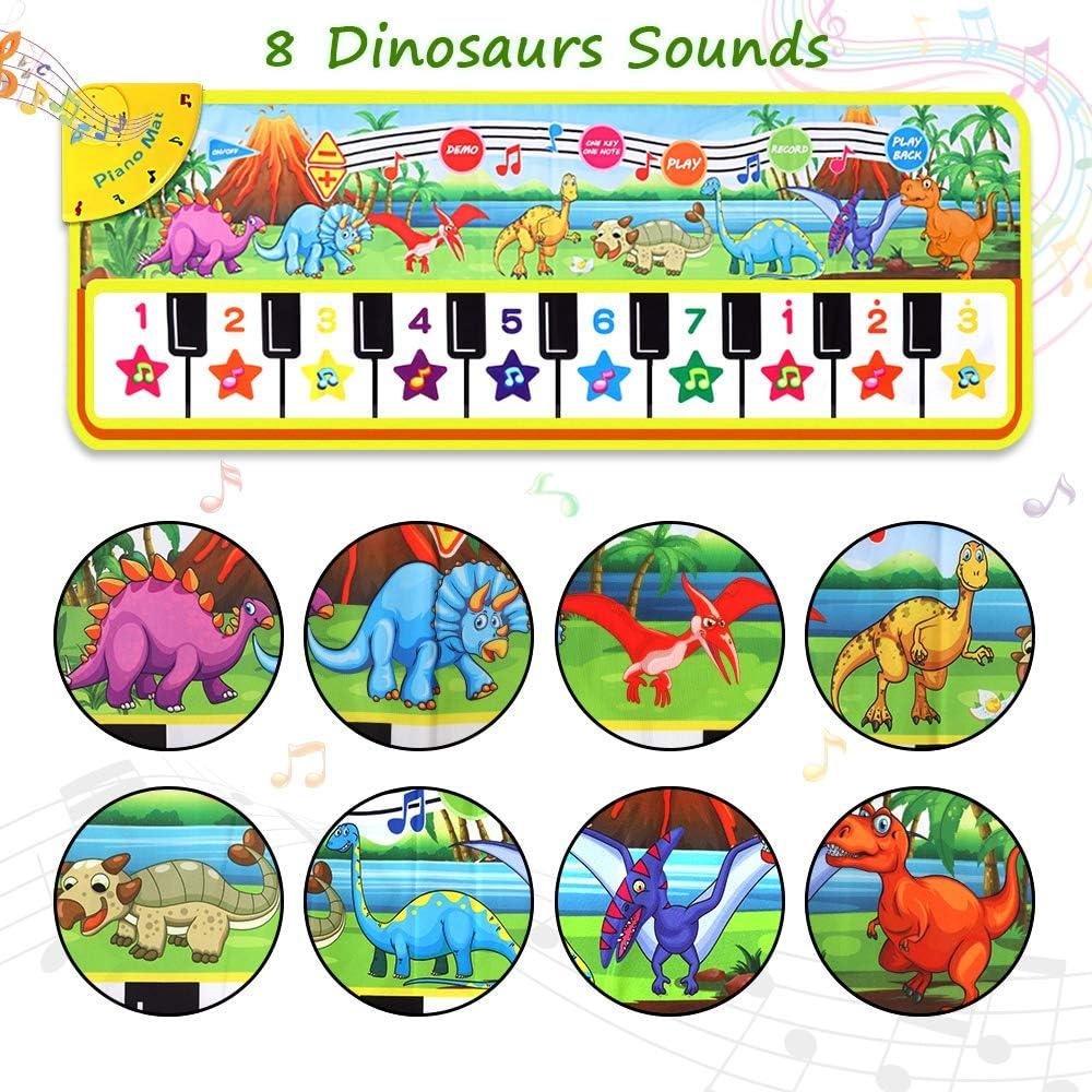 "Musical Piano Mat 43/"" x 14/"" Keyboard Play Mat Kids Piano Mat Dinosaur Dance Mat Electronic Piano Carpet for Kids Toddler Boys Girls Aged 3-8 Years Old"