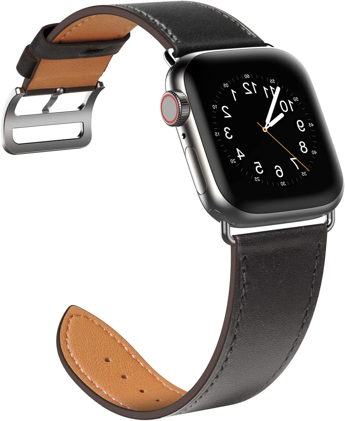 SAWE Compatible with Apple Watch Band 38mm 40mm, Genuine Leather Band Replacement Strap Compatible with Apple Watch Series 6 5 4 (40mm) Series 3 2 1 (38mm) SE / Sport and Edition (Black)