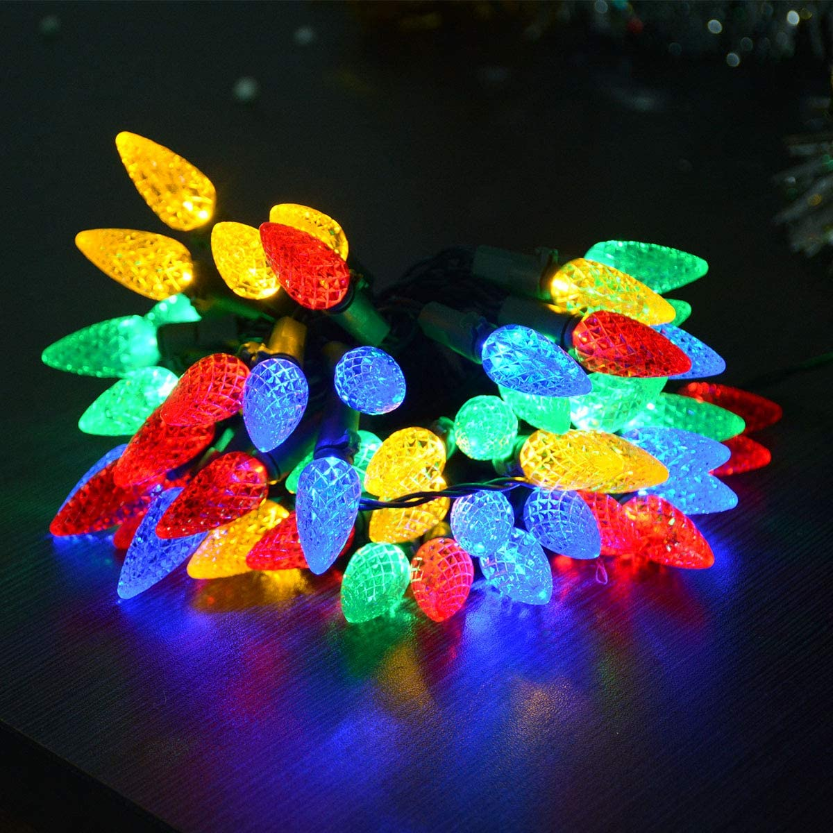 Awinking 17.7Ft 50 LED C6 Bulb Christmas Lights Multicolored, Battery Operated Christmas Tree Lights, Green Wire Colored Christmas Lights for Tree, Christmas Decor, Wedding Party, Bedroom, Patio, Home