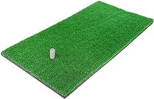 "12""x24"" Golf Mat, Practice Hitting Mat with Rubber Tee Holder Realistic Grass Putting Mats Portable Outdoor Sports Golf Training Turf Mat Indoor Office Equipment"