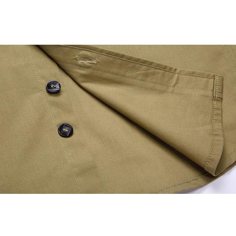 LEOCLOTHO Camisa Casual Manga Larga para Hombre Estilo Militar Slim Fit Color S/ólido Camisas con Botones
