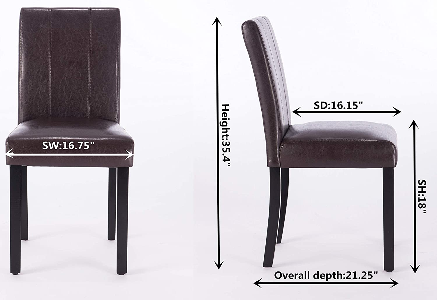 Dining Chairs Set of 2 Solid Wood Leatherette Parson Chairs Brown