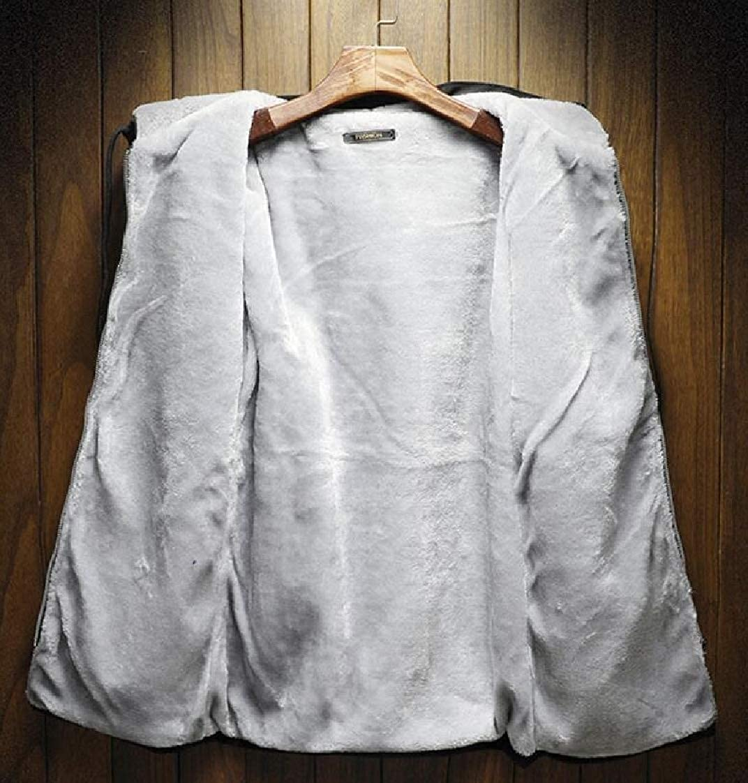 YYear Mens Hooded Linen Fleece Drawstring Warm Zipper Sweatshirt Jacket