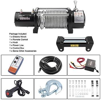 kitech ildhrrd 12 V eléctrica Cabestrante 12000 Lb Motor Torno Offroad Radio 12 V 5443 kg Offroad Torno Boot Torno con funkfernbedienung, Plata: Amazon.es: ...