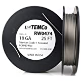 Temco kanthal a1 wire 36 gauge 250 ft resistance awg a 1 ga temco titanium wire 18 gauge 25 ft surgical grade 1 resistance awg ga greentooth Images