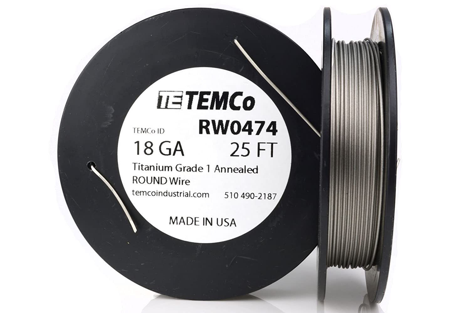 TEMCo Titanium Wire 18 Gauge 25 Ft Surgical Grade 1 Resistance AWG ...