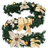 Ghirlanda di Natale artificiale con pigne e bacche; ghirlanda di Natale, ideale come decorazione per scale e caminetti Gold
