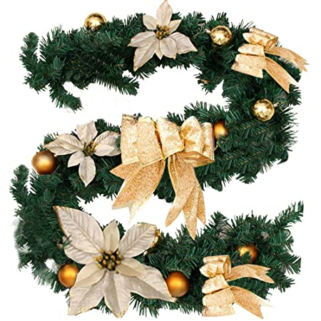 artificial christmas garland decoration with flower bow xmas wreaths tree decoration for stairs fireplaces