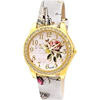 Att'z Pink Floral Print Silicone Belt Floral Print Dial Women Watch & Girl's Watches-A5