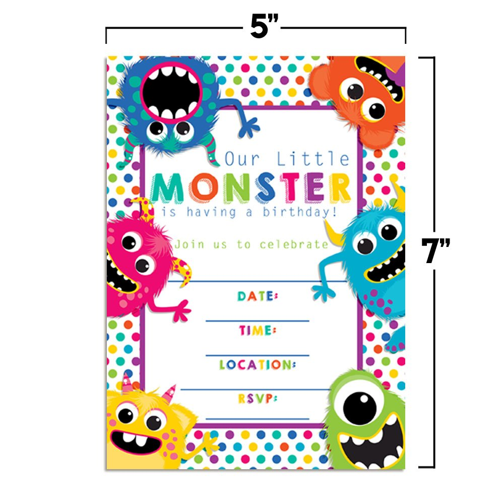 Colorful, Cute & Friendly Monsters Birthday Party Invitations, 20 5''x7'' Fill in Cards with Twenty White Envelopes by AmandaCreation by Amanda Creation (Image #5)