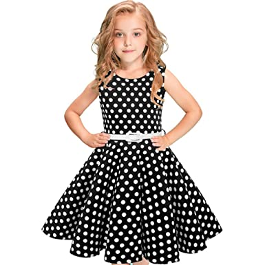 d2db6574c Girls Vintage Cotton Swing Dresses 1950 s Rockabilly Polka Dots ...