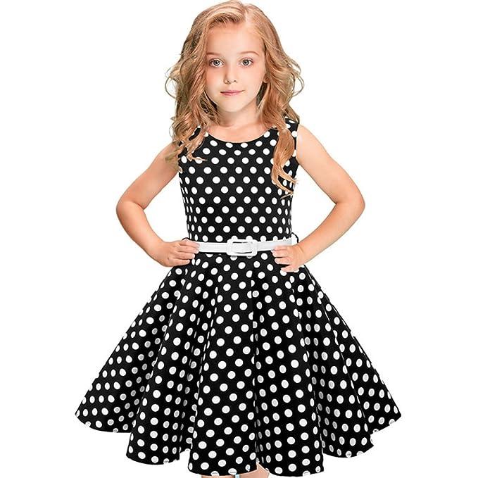 b1d4a5c8 Girls 50s 'Audrey' Vintage Swing Rockabilly Retro Party Dress for Kids  Hepburn Patchwork Polka