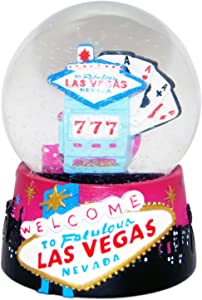 CityDreamShop Welcome to Las Vegas Large 65mm Casino and Slots Souvenir Snow Globe