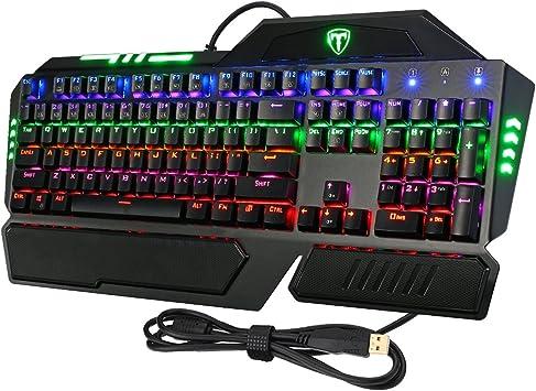 VicTsing - Teclado mecánico de 104 teclas con conexión USB y retroiluminación multicolor para videojuegos, compatible con Windows 10, 8, 7, Vista y ...