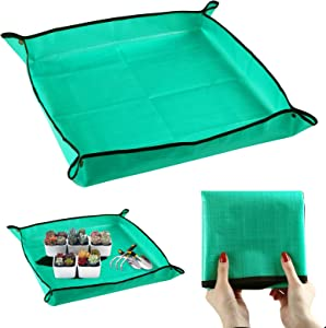 LEMESO 26.7 x 26.7 inch Foldable Plant Transplanting Mat for Garden Transplanting Work, Waterproof Plastic Repotting Mat, Great for Indoor Bonsai Succulent Plant Care - Green