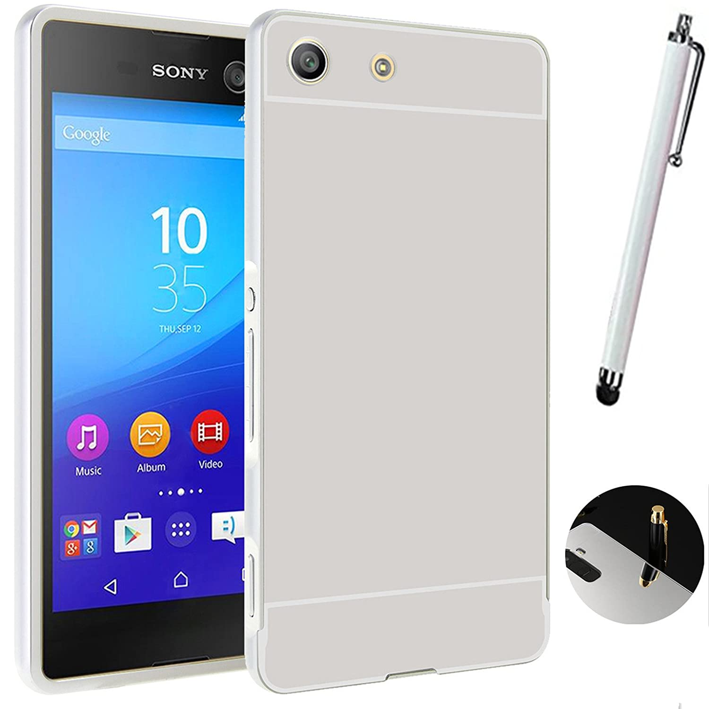 Funda Espejo Aluminio Metal Carcasa para Sony Xperia M5 Color Plata