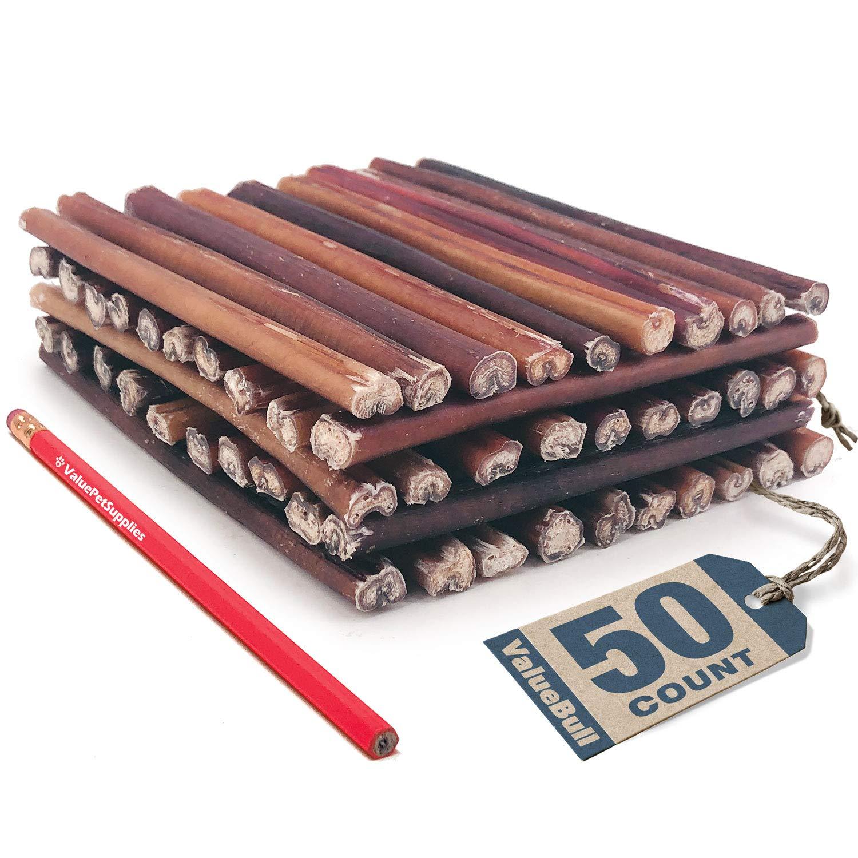 ValueBull Bully Stick Dog Chews, 6 Inch Regular/Thin, Odor-Free, 50 Count