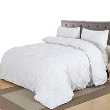 Amazon.com: Home Decor Pintuck Duvet Cover Set, Queen, White: Home ... : pintuck quilt cover - Adamdwight.com