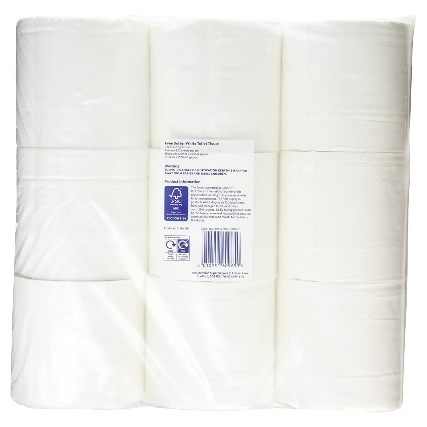 Morrisons Even Softer White Toilet Tissue 9 Rolls Amazoncouk Prime Pantry