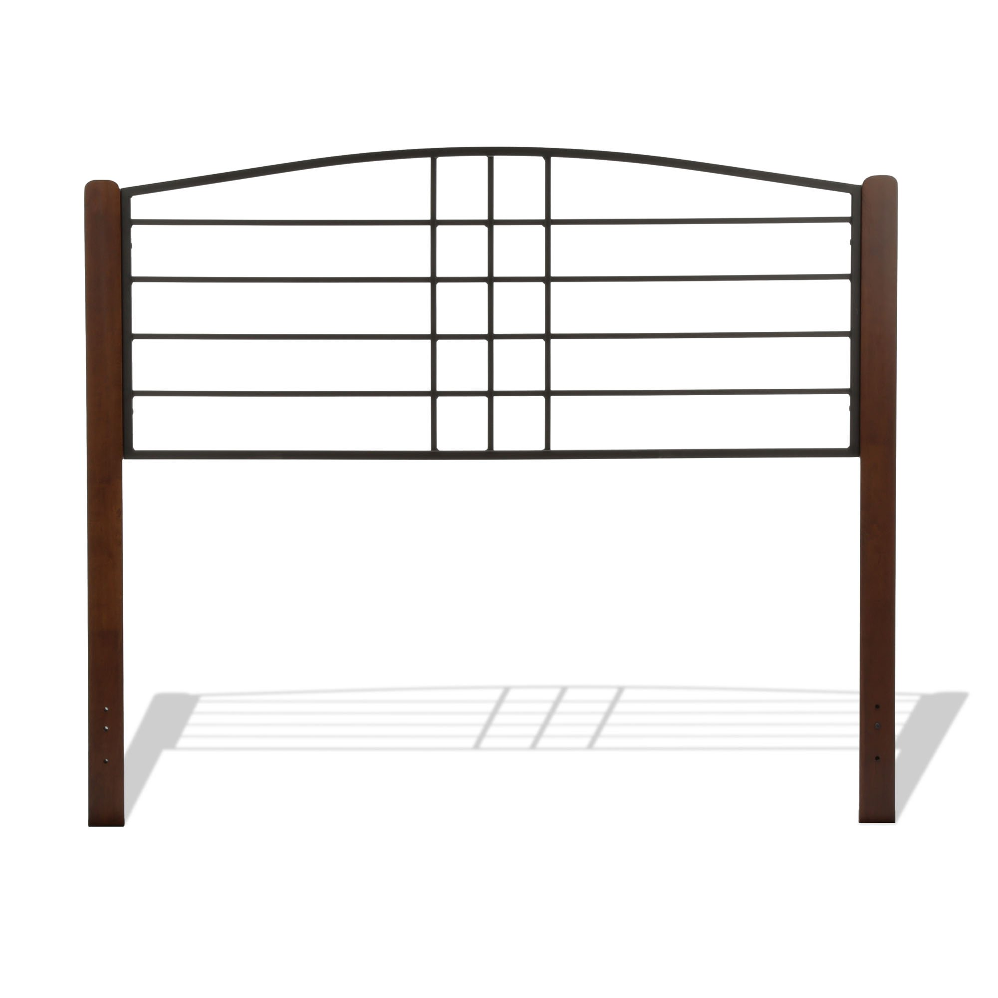 Fashion Bed Group Dayton Metal Headboard Panel with Slight Arched Design and Flat Wooden Posts, Black Grain Finish, Twin