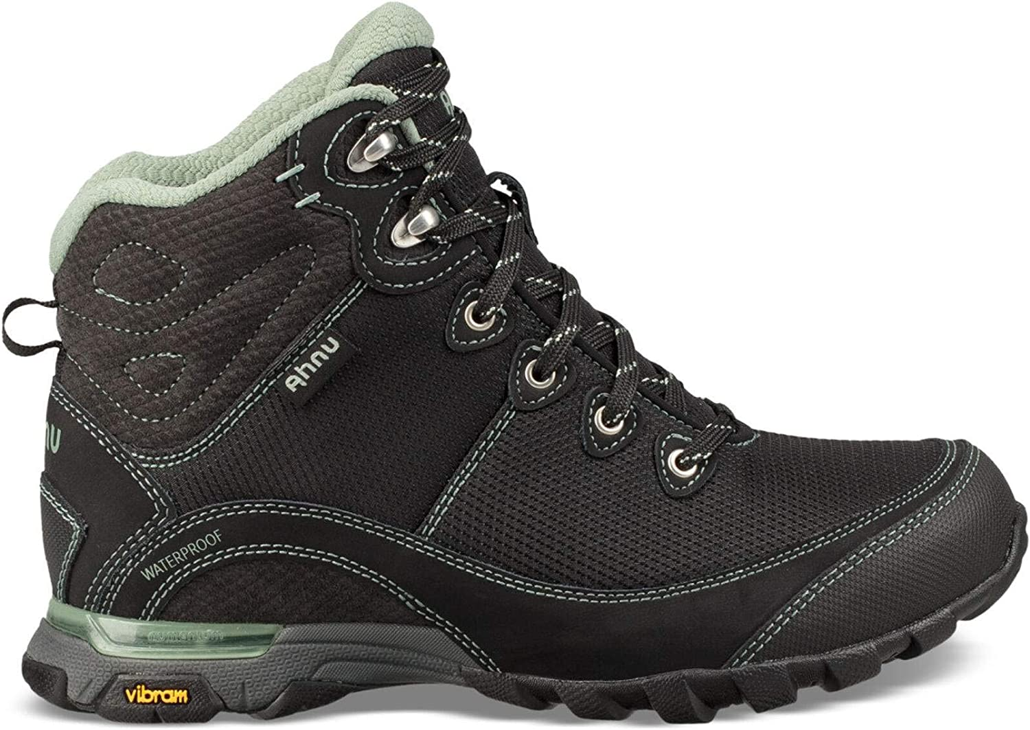 Image of Ahnu Women's W Sugarpine II Waterproof Ripstop Hiking Boot, Black/Green Bay, 11 Medium US Hiking Boots