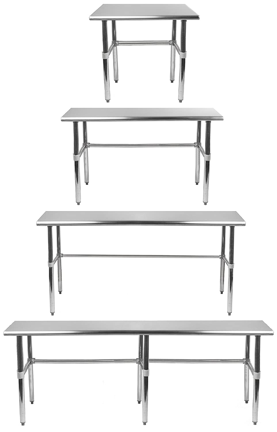 AmGood Stainless Steel Work Table - with Open Base (RCB) | Food Prep | Utility Work Station | NSF Certified | All Sizes
