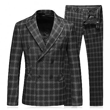 GOMY Costume Complet Homme a Carreaux Croisé Noir 3 Pièces  Amazon ... 0585cb61e15