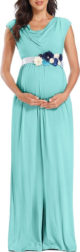 Peauty Draped Neckline Maternity Dress Extra Flower Sash Maxi Dress For Baby Shower Maternity Photoshoot At Amazon Women S Clothing Store