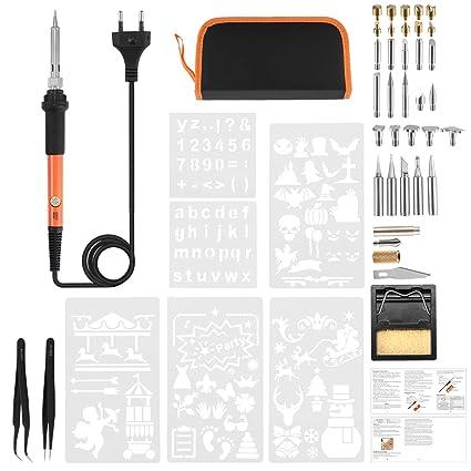 Kit de soldador eléctrico, ONEVER pluma pirograbada de alta potencia de 60 vatios, herramienta