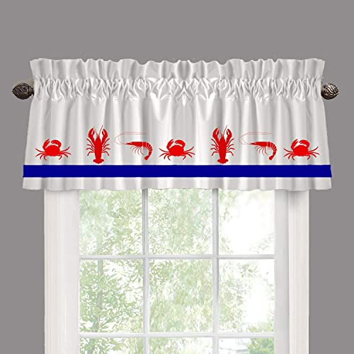 Shrimp Crab Lobster Seafood Restaurant Window Valance Window Treatment – In Your Choice of Colors – Custom Made