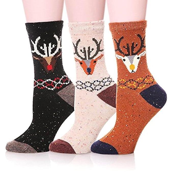 Indeedshare Calcetines de lana suave de dibujos animados animal lindo de las mujeres - 3 PARES
