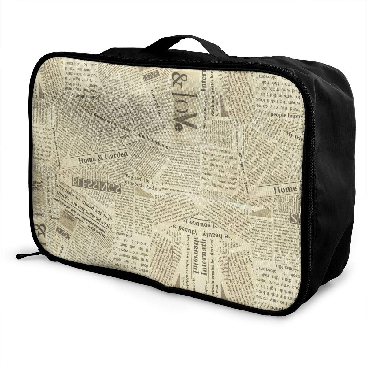 Travel Lightweight Waterproof Foldable Storage Carry Luggage Duffle Tote Bag JTRVW Luggage Bags for Travel Retro Newspaper
