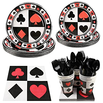 Casino Party Supplies Set - Serves 16 Guest Includes Party Plates, Spoons, Forks, Cups, Napkins Party Pack Perfect for Poker Casino Night Themed Birthday Poker Events Parties Decorations: Toys & Games