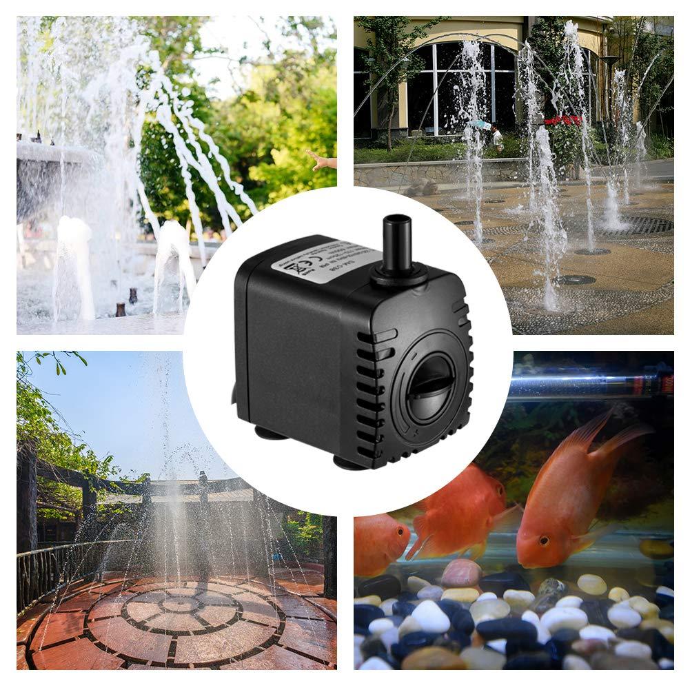 Homvik Bomba de Agua Bomba Sumergible para Acuario Estanque Pecera Fuente Circulación de Agua Dulce y Marino con 2 Boquillas 8W 600L/H 1.2m de Altura: ...
