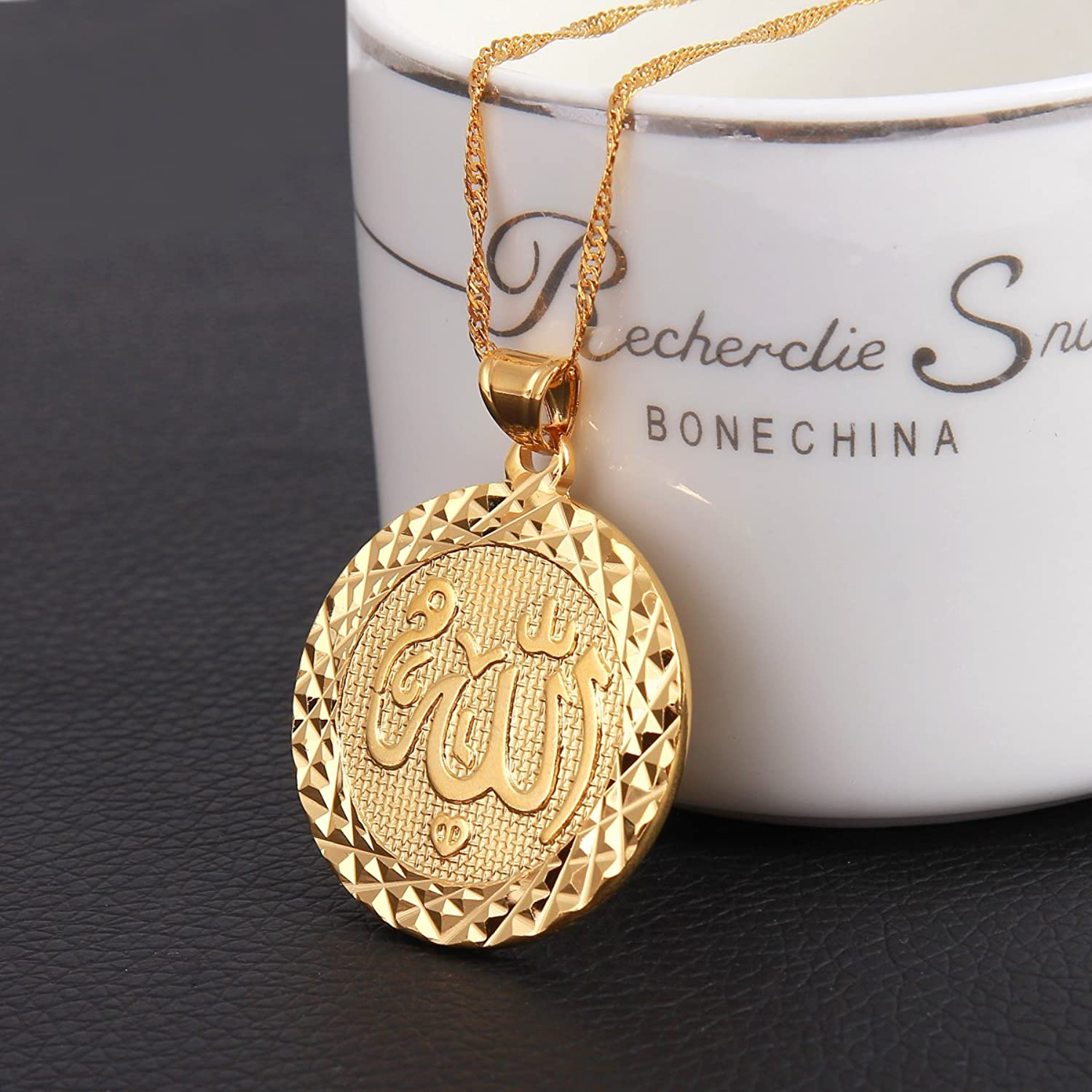 Amazon men allah gold pendant necklace link chain middle east amazon men allah gold pendant necklace link chain middle east charm islam round pendant jewelry mozeypictures Choice Image
