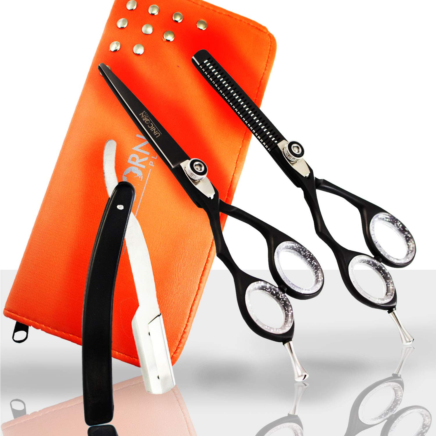Professional Hairdressing scissors, Lefty Hair Shears Hairdressing Equipment Tool, Thinning Scissors Set 5.5 with White Inserts, Scissors for Salon & Home Use. [ Left Handed ] (Cutting Scissors) Unicorn Plus