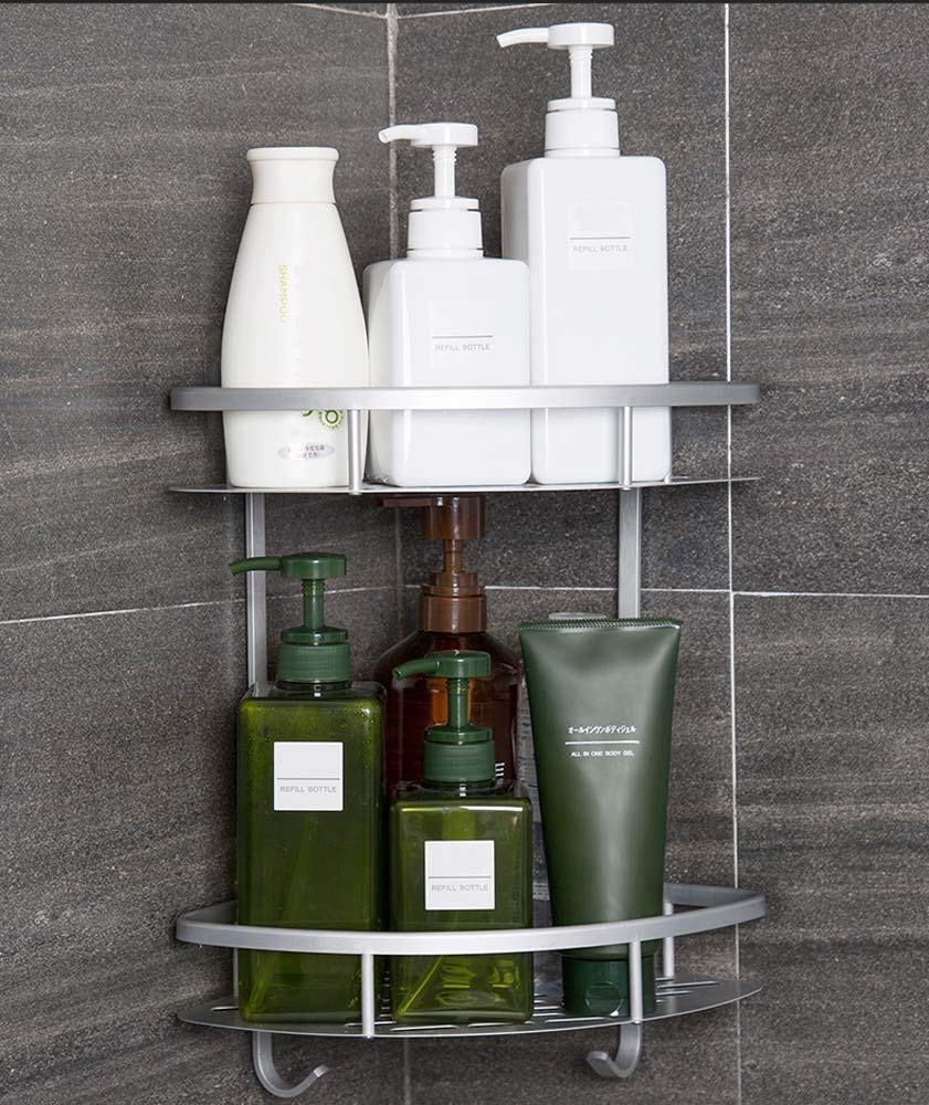 Hawsam Befestigen Ohne Bohren Duschregal Eckregal Badregal 2 Etagen Rostfrei Aluminiumlegierung Bad Duschablage Duschkorb f/ür Shampoo