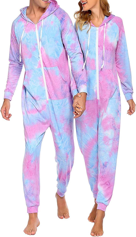 Parejas Pijamas con Capucha Tie Dye Romper Conjunto de Ropa de Dormir para Adultos de una Pieza con Cremallera de Manga Larga Mono Loungewear Homewear