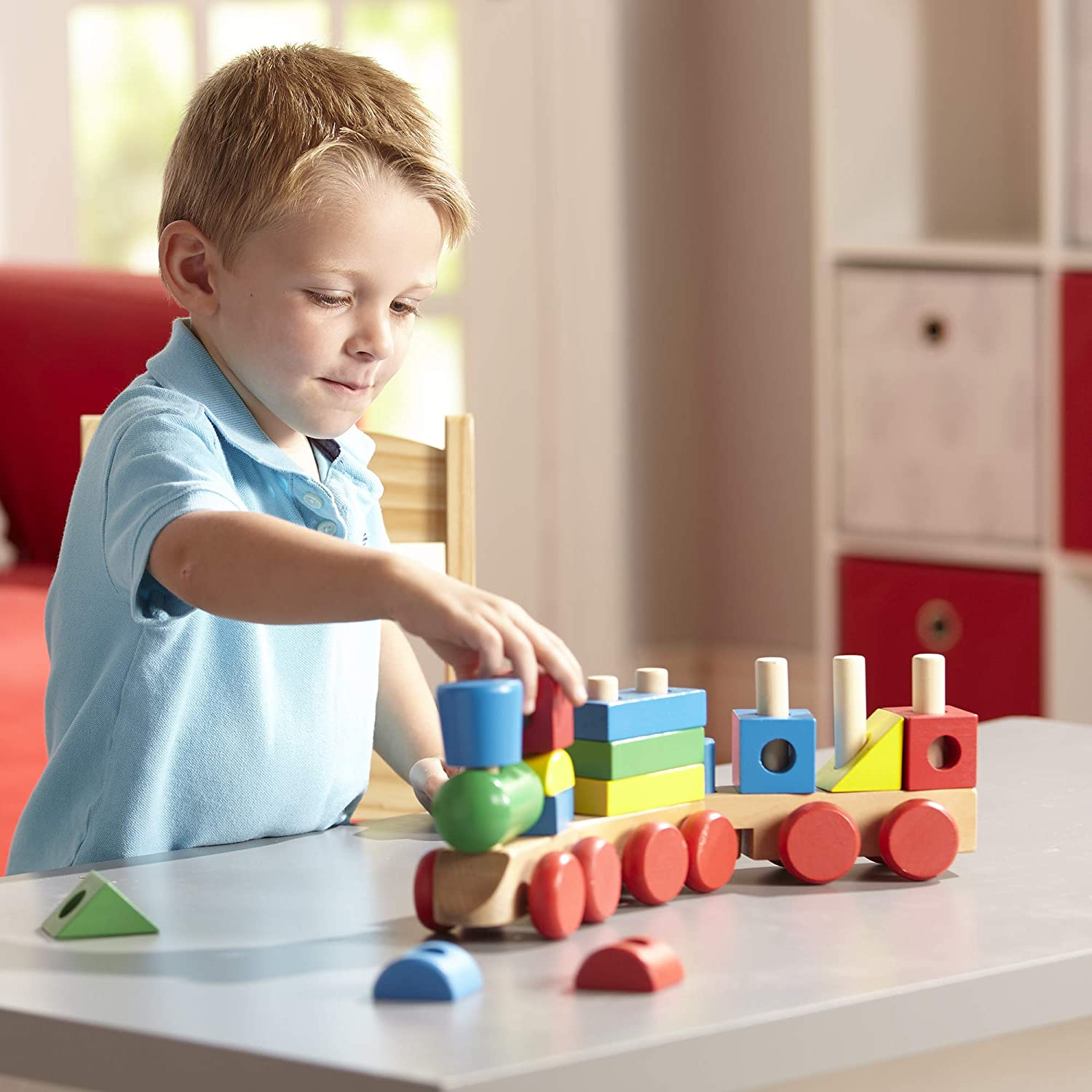 18 pcs Classic Wooden Toddler Toy Melissa /& Doug Stacking Train