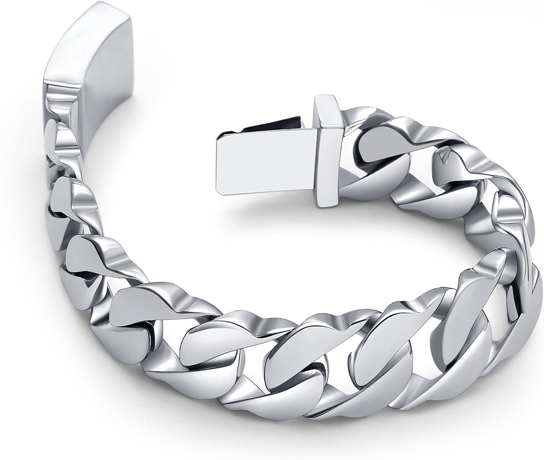 Urban-Jewelry Bracelet maillons larges en acier inoxydable 316L argent/é 21 cm