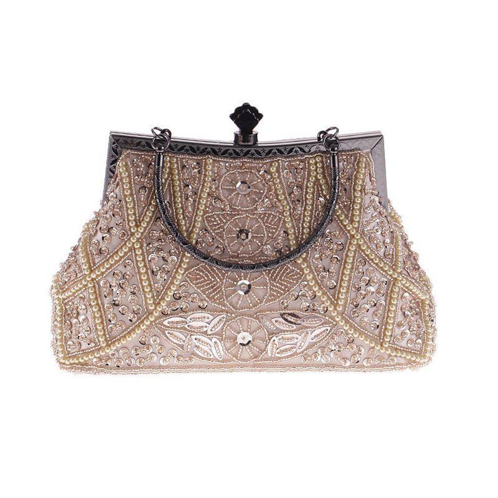Numkuda Women Lady Evening Handbag Wedding Party Prom Handbag Wallet Clutch Purse Strap Messenger Bag ROSE GOLD (golden)