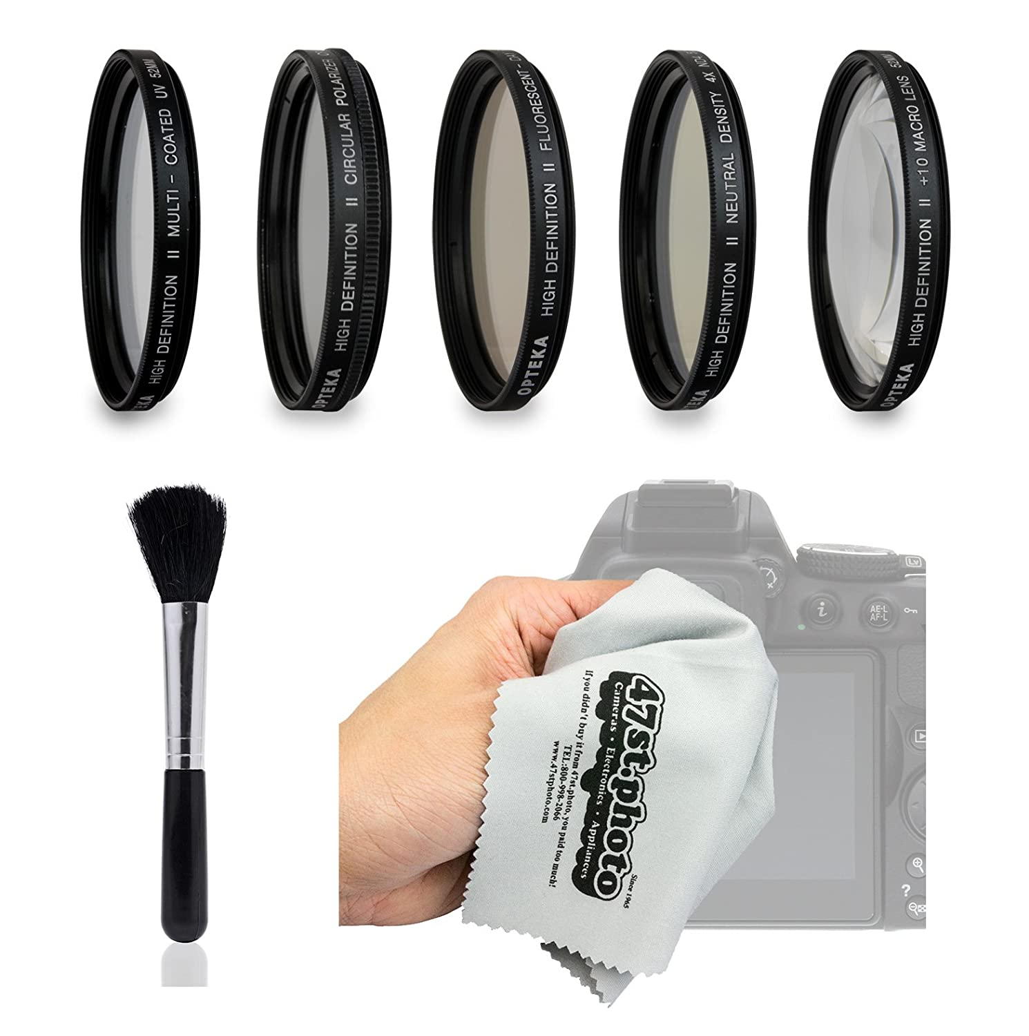 Amazon.com : Opteka HD Filter Kit Includes UV, CPL, FL, ND4, 10x Macro, Dust Brush and Microfiber Cleaning Cloth for Canon EOS-M/EOS-M3 Compact Digital ...