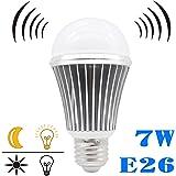 LED電球 光感知センサー付きLEDライト E26 7W 60W相当省エネ電球 室内用 ledランプ 【下方向タイプ】 (昼白色)